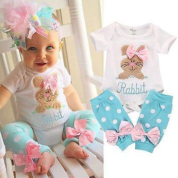 Baby Girls Rabbit Onesuit and Polka Dot Leg Warmers 2 pc. Set