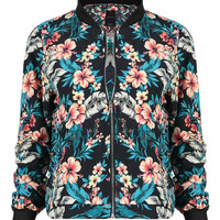 Black Bomber Jacket in Vintage Floral Print