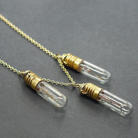 Steampunk Jewelry Necklace Brass Upcycled Light Bulb by Tanith