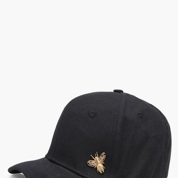 Jenna Metal Bee Badge Cap | Boohoo