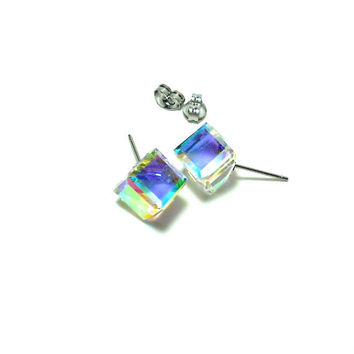 SMALL Cube - Swarovski Crystal Aurora Borealis Stud Earrings - Cubist Studs - Swarovski Cube - Cube Earrings