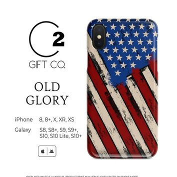 Old Glory - Heavy Duty Shock Absorption Phone Case Cover For Iphone X, Xr, Xs, 8, 8+ & Samsung Galaxy S10, S10+, S9, S9+, S8, S8+