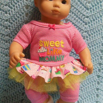 "AMERICAN GIRL Bitty Baby Clothes ""Sweet Like Mommy"" (15 inch) doll outfit  dress shorts booties socks headband cupcakes"