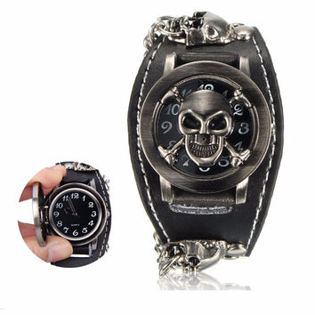 Vintage  Gothic Skull Case Leather Band Men Bracelet Quartz Wrist Watch