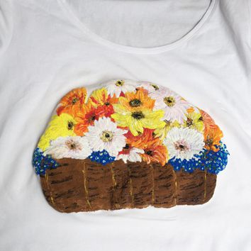 Flowers T-shirt Spring Floral Painting 3d Art to Wear