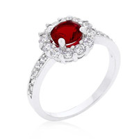 Ruby Red Halo Engagement Ring, size : 06