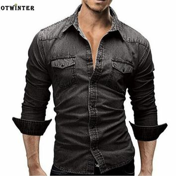 Tide brand men's slim long-sleeved shirt denim shirt Black