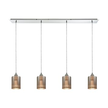 Plated Rings 4-Light Linear Pendant Fixture in Polished Chrome with Chrome-plated Rings Glass