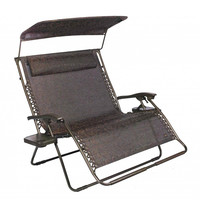 Patio Bliss 2-Person Gravity Free Recliner w/ Canopy - Brown Jacquard