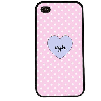 UGH Retro Case / Hipster iPhone 4 Case Polka Dot iPhone 5 Case iPhone 4S Case iPhone 5S Case Summer Trendy Pink Pastel Heart Funny iPhone 5C