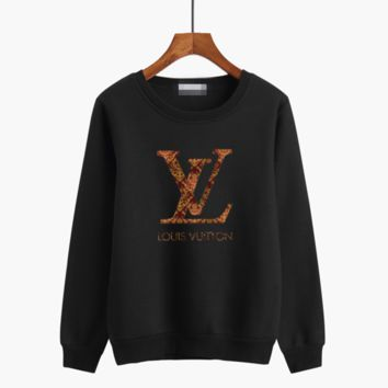 """""""Louis Vutitton"""" Women Casual Multicolor Logo Letter Print Thickened Long Sleeve Sweater Tops"""