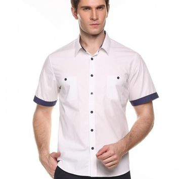 White Men's Short Sleeve Turn-down Collar Contrast Color Button-Down Shirts