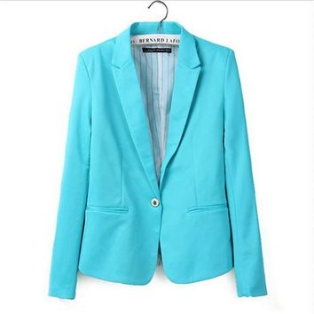 CREYONHS new hot stylish and comfortable women's Blazers Candy color lined with striped  suit   Free Shipping