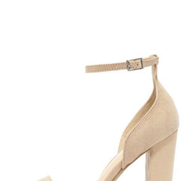 Lovely Does Natural Suede Ankle Strap Heels