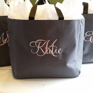 8 Bridesmaid Gift, Personalized Tote Bag, Wedding Party