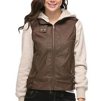 Women Fleece Sleeve & Hooded Motorcycle Biker PU Faux Leather Bomber Jacket