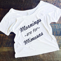 S-XXL Sunday Brunch Mornings are for Mimosas Slouchy Slub Tee Funny Graphic Tee Yoga Top -