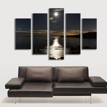 5 Panel Wall Art Moon Picture Night Sea Landscape Painting for Living Room Modern Home Decor Canvas Prints No Frame