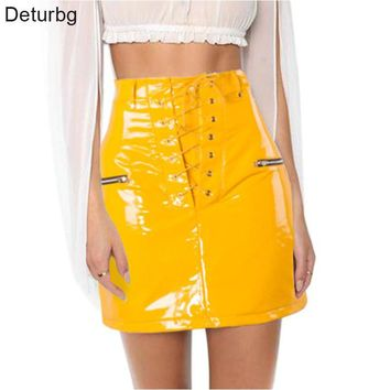 Deturbg Women's Fashion Lace-up Tied Mini Skirt High Waist Zipper Faux Leather Shining Yellow Flocking Skirts 2018 Spring SK186