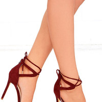 High Above Me Burgundy Suede Lace-Up Heels
