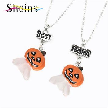 BFF Cartoon Halloween Party Jewelry 2pcs/Set Best Friends Charms Pumpkin Monster Pendants Heart friendship Kids Necklace Set