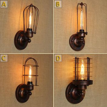 Vintage Wall Lamps American Industrial Warehouse Wall Scone Lamp For Cafe Club Bar Bedside Wall Fixtures simple american style