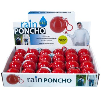 Rain Poncho in a Ball Countertop Display Case Pack 24