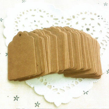 100pcs Brown Kraft Paper Hang Tags Wedding Favor Label Gift Cards CB12