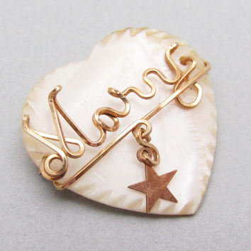 Vintage Heart Brooch Mary Wire Name Personalized Jewelry P7161
