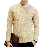 Solid Twisted Rib Knitting Long Sleeve Sweater