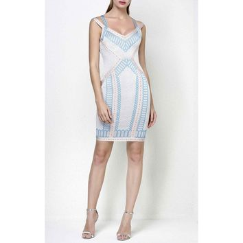 Kennedy Geometric Jacquard Bandage Dress