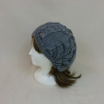 Grey Slouchy Hat, Lace Knit Beanie, Baggy Toque, Dread Slouch Hat
