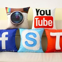 Instant Message APP Cushion Cover Facebook YouTube Skype Media Logo Pillow Covers Velvet Fabric Sofa Pillow Cover 40x40cm B26
