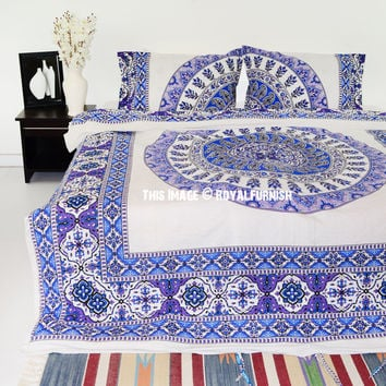 White  Blue Bliss Bohemian Gypsy Mandala Bedding Duvet Cover Set with 2 Pillow Cover on RoyalFurnish.com