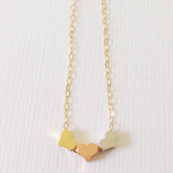 Delicate triple heart necklace – 14k Gold filled triple heart necklace, Dainty gold necklace, Simple jewelry, layering necklace