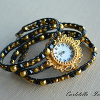 Black Leather Wrap Watch Gold Face