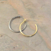 2 Nose Hoops - Silver and Gold Nose Hoop Rings
