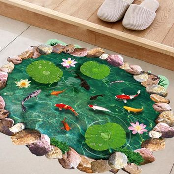 Streetstyle  Casual Fish Ponds Lotus Floor Wall Sticker Bedroom Living Room Bathroom Coverings Sticker Decals Home Decor Creative Wall Art (Color: Green)