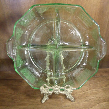 Vintage Vaseline Green Glass Divided Dish Candy Serving