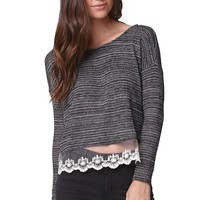 LA Hearts Lace Trim Sweater - Womens Sweater