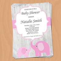 Girl Baby Shower Invitation Elephant Baby Shower Invitation Baby Girl Shower Invitation Baby Shower Invite Pink (82-VW) -Free Thank You Card