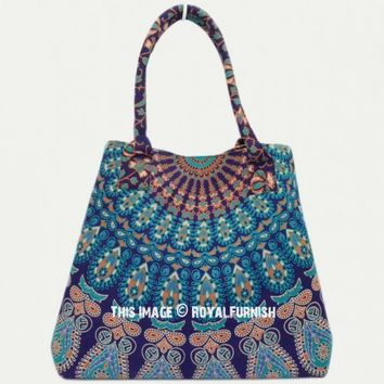 Blue Detailed Mandala Boho Beach Bag on RoyalFurnish.com