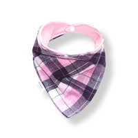 Baby Bandana Bib Scarf in Purple and Pink Plaid Flannel with Snap Closure for Girl