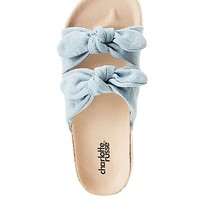 Denim Bow Two-Strap Slides | Charlotte Russe