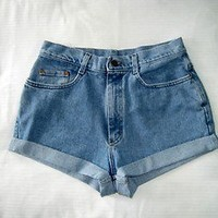 Light Wash High Waisted Lee  Women's Denim Cutoff Shorts Size 10 Medium