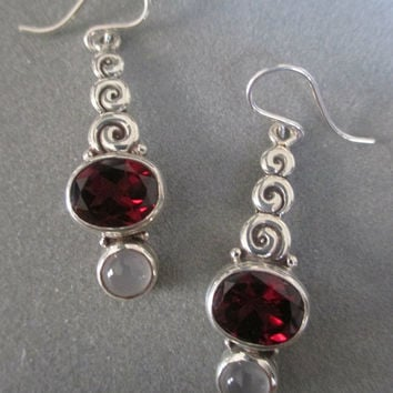 Sterling Silver Garnet & Moonstone Earrings