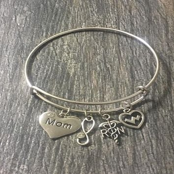 Mom Nurse Charm Bangle Bracelet
