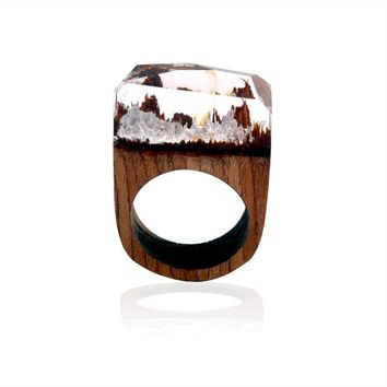 Handcrafted Silver Mountain - Secret World in Wooden Rings for Women & Men Resin Jewelry