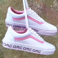 """Vans"" With Warm Casual Shoes Women Pink soles print monogram cloth shoes Pink"
