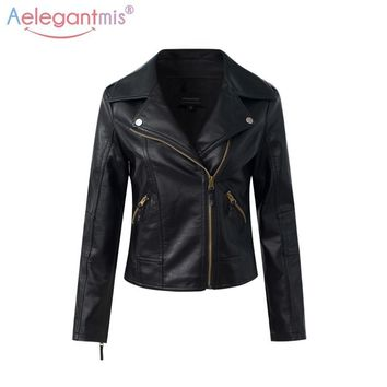 Trendy Aelegantmis Classic Black PU Leather Jacket Women Cool Slim Short Motorcycle Jackets Ladies Autumn Coat Basic Street Outerwear AT_94_13